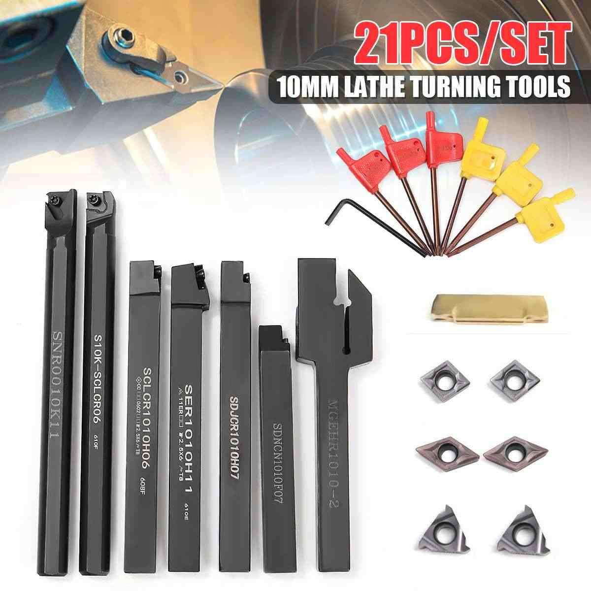 Carbide 7PCS Set Of 10MM Lathe Turning Tool Holder Boring Bar Wrench