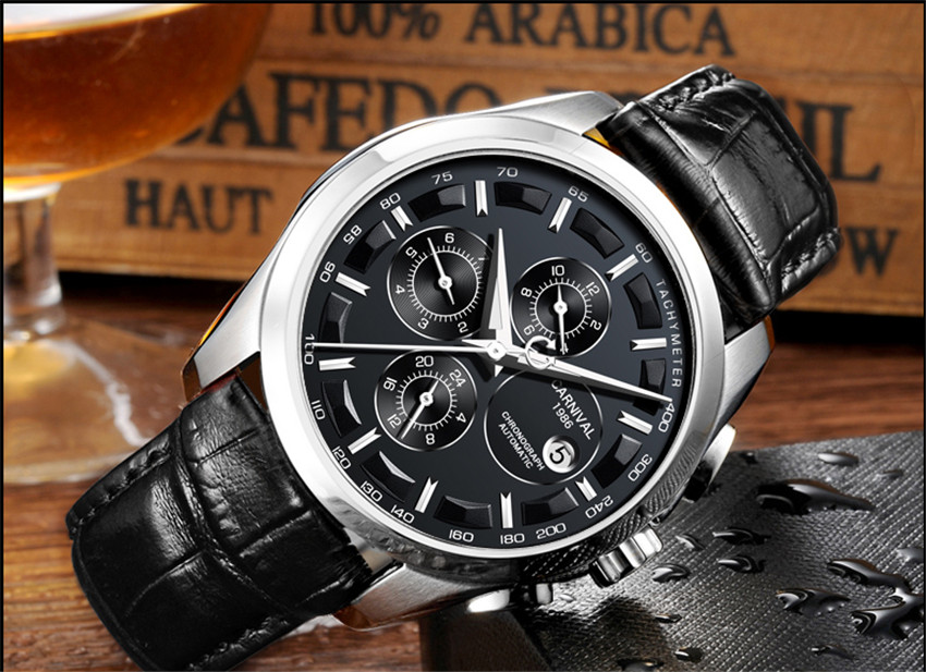 Carnival men clássico automático relógios mecânicos dos