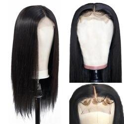 AllRun бразильские волосы на шнурках с закрытием человеческих волос парики для женщин не Реми волосы прямые 4 × 4 парики на шнурках с волосами