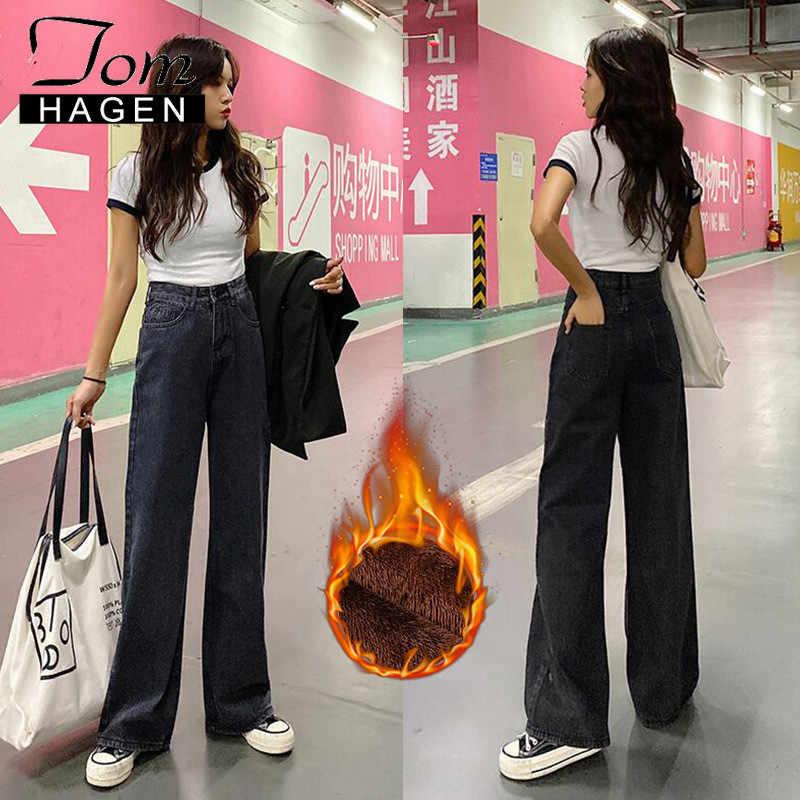 Женские джинсы зима 2019 винтажные теплые бархатные широкие брюки с высокой талией