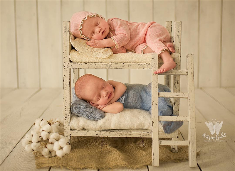 Newborn Photography Props New Retro Hundred Days Solid Wood Old Antique Twins Baby Bed Props