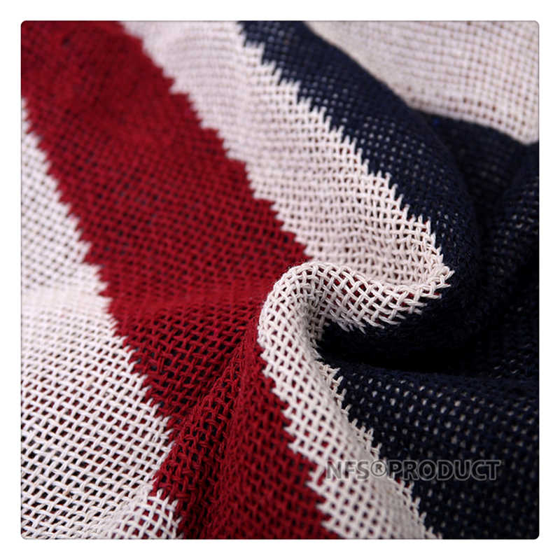 130x180cm Sofa Blanket Cotton Fabric UK & USA Flag Design Knitted Bed Spread Couch Covering Quilt Throws With Tassels 5