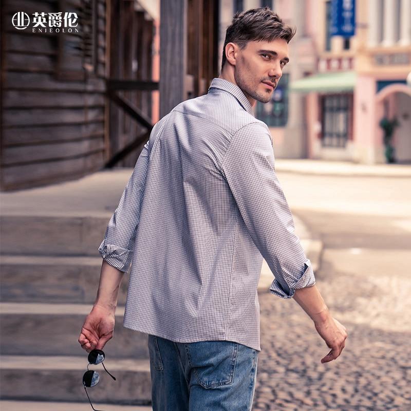 Enjeolon Long Sleeve Shirt Men's 2020 Autumn New Young Causal Fashion checked shirt CX2302 5