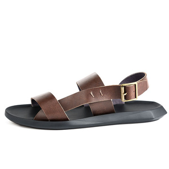 British Fashion Beach Sandals For Men Buckle Straps High Quality Leather Flats Slippers Schuhe Herren Roma Peep Toe Sandal Shoes