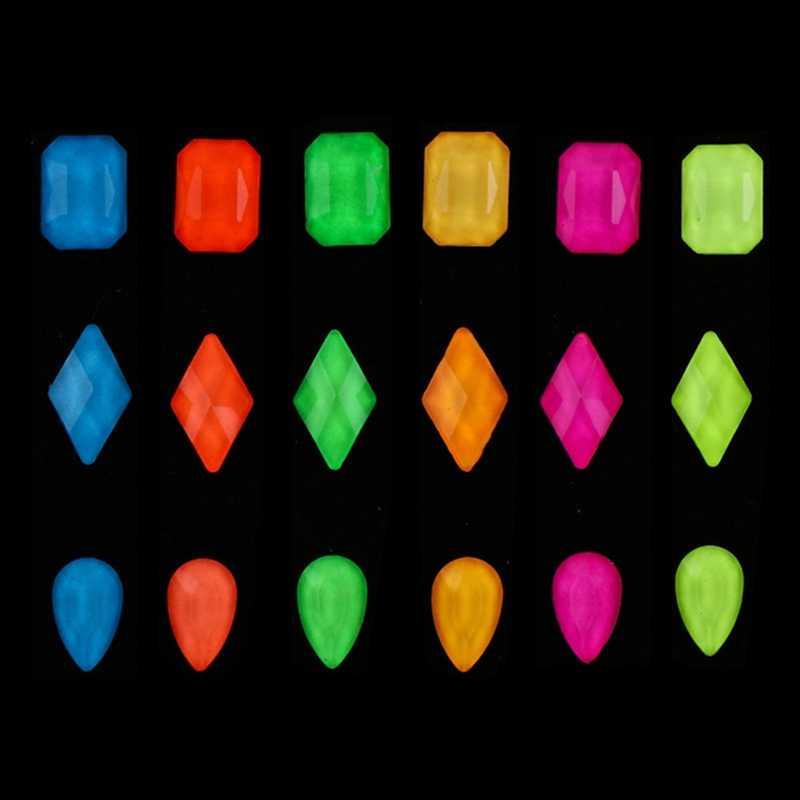 12pc fluorescencyjne Nail Art dżetów mieszane wzornictwo świecące paznokci kamień Luminous mieszkanie powrót diamentowe zdobienie paznokci dekoracje Neon nowy