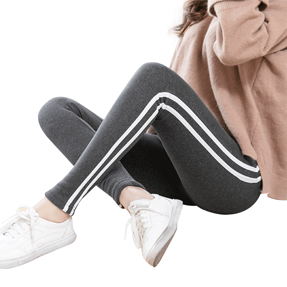 Grey Casual Striped Sport Workout Clothing For Women Side Stripes Sporty Leggings Fitness Gym Wear Female Spring Autumn Pants title=