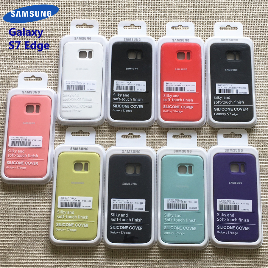 <font><b>Samsung</b></font> Galaxy <font><b>S7</b></font> <font><b>Edge</b></font> Silky Soft-touch Liquid Silicone Shell Cover <font><b>Original</b></font> <font><b>Case</b></font> for Galaxy <font><b>S7</b></font> <font><b>Edge</b></font> With Retail Box image