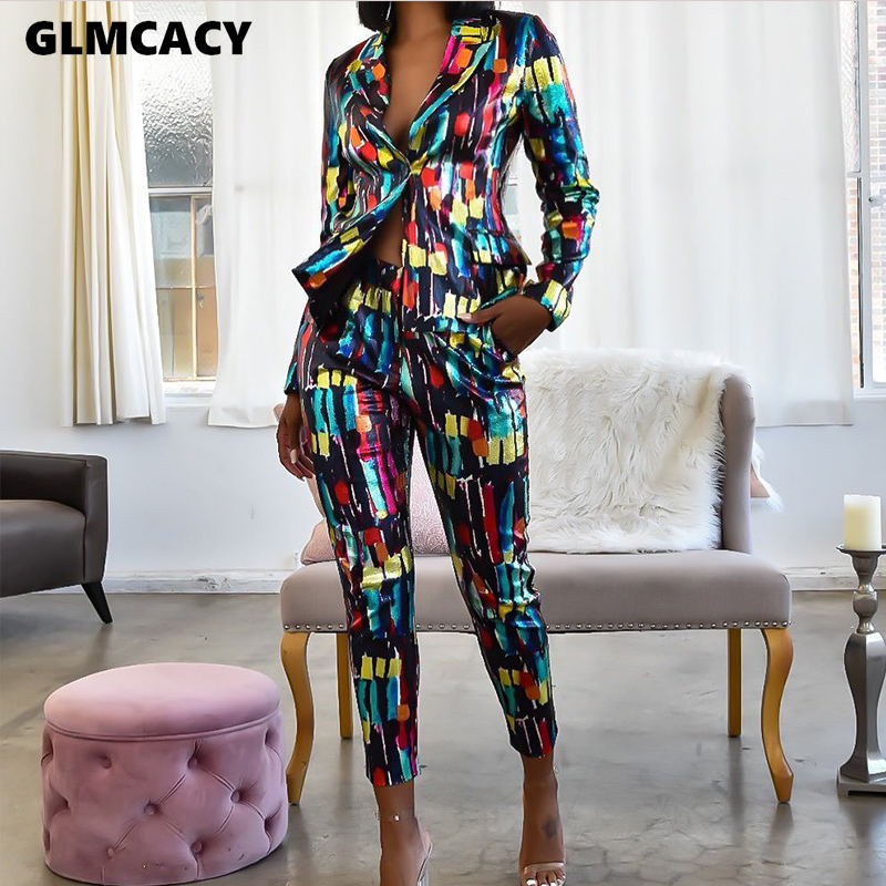 Women Two Piece Matching Sets Tie Die Printed Notched Lapel Collar Blazer & High Waist Bodycon Skinny Pants Chic Outfit Suit