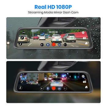 AWESAFE New FHD 1080P Dash Cam Car DVR Camera Stream RearView Mirror 10\'\' IPS 2.5D Drive Video Auto Recorder Night Vision