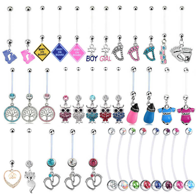 1PC Mix Pregnancy Belly Rings for Women Maternity Dangle Belly Rings Body Piercing Jewelry Flexible Piercing Navel Accessories