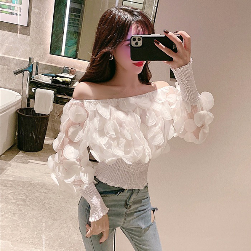 H558a58868c3c42fdbcca79da0dc013eaw - Sexy Off Shoulder womens tops and blouses Mesh Sheer Puff Sleeve Tops Summer 3D Flower Vintage White Women Shirt Blouse