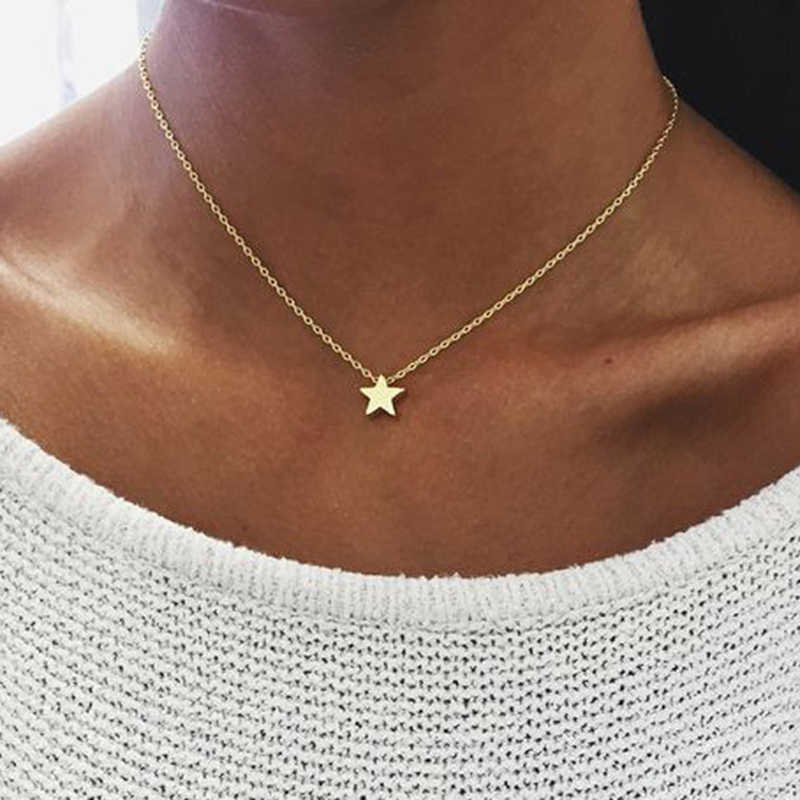 New Minimalism Small Star Pendant Necklaces For Women Ladies Gold Silver Color Chain Choker Necklace Women Pentagram Jewelry