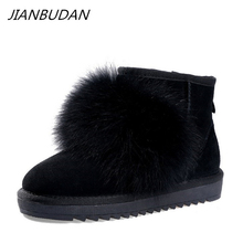 JIANBUDAN/ Fox hair snow boots lovely girl Winter plush warm ankle Genuine Leather Fashion flat Womens 35-40