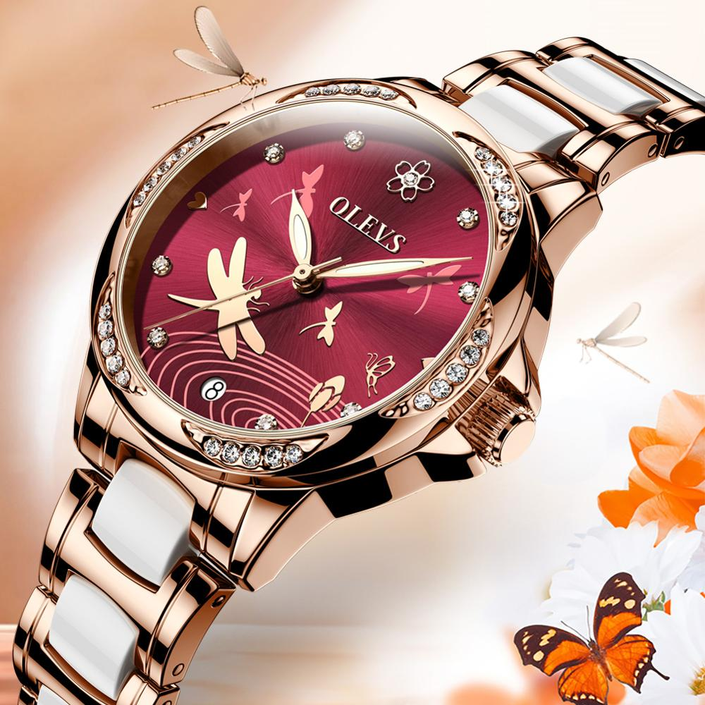 OLEVS Ceramic Watch Mechanical-Watch Female Waterproof Women Automatic New for Gift The