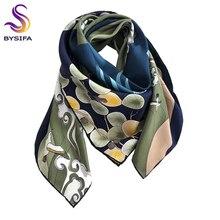 [BYSIFA] Новинка натуральный шелк квадратный шарф хиджаб модные синие зеленые женские шарфы шаль осень зима роскошный бренд шеи шарф накидка