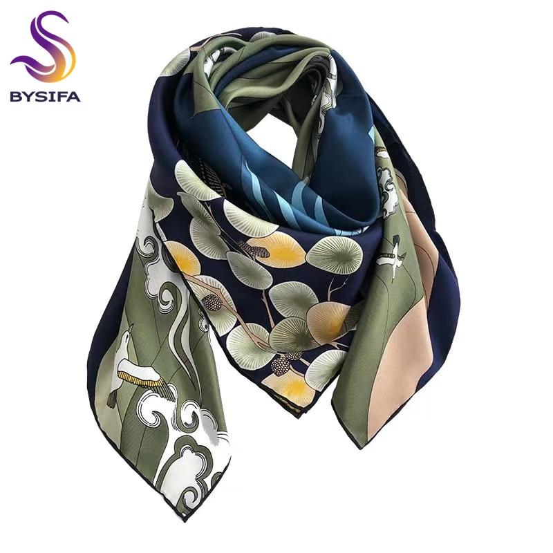 [BYSIFA] New 100% Pure Silk Square Scarf Hijab Fashion Blue Green Women Scarves Shawl Fall Winter Luxury Brand Neck Scarf Cape