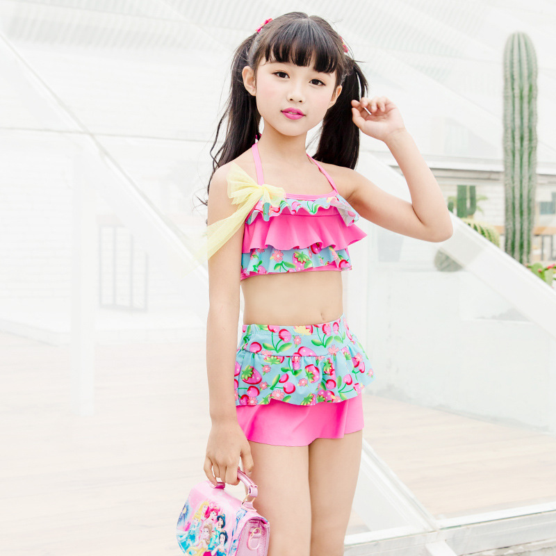 Comfortable GIRL'S Swimsuit Boxer Korean-style Split Type Pants-Dacron Princess Dress GIRL'S Beach Swimming Suit