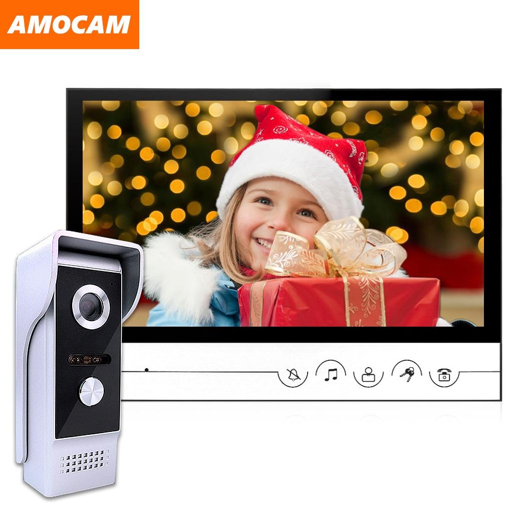 9 Inch Wired Video Door Phone System Video Intercom Doorbell With Waterproof Outdoor IR Camera Remote Unlock For Home Security