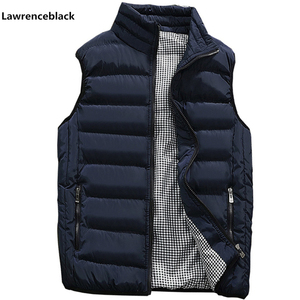 Image 1 - Mens Jacket Sleeveless Vest Winter Fashion Casual Slim Coats Brand Clothing Cotton Padded Mens Vest Men Waistcoat Big Size 666