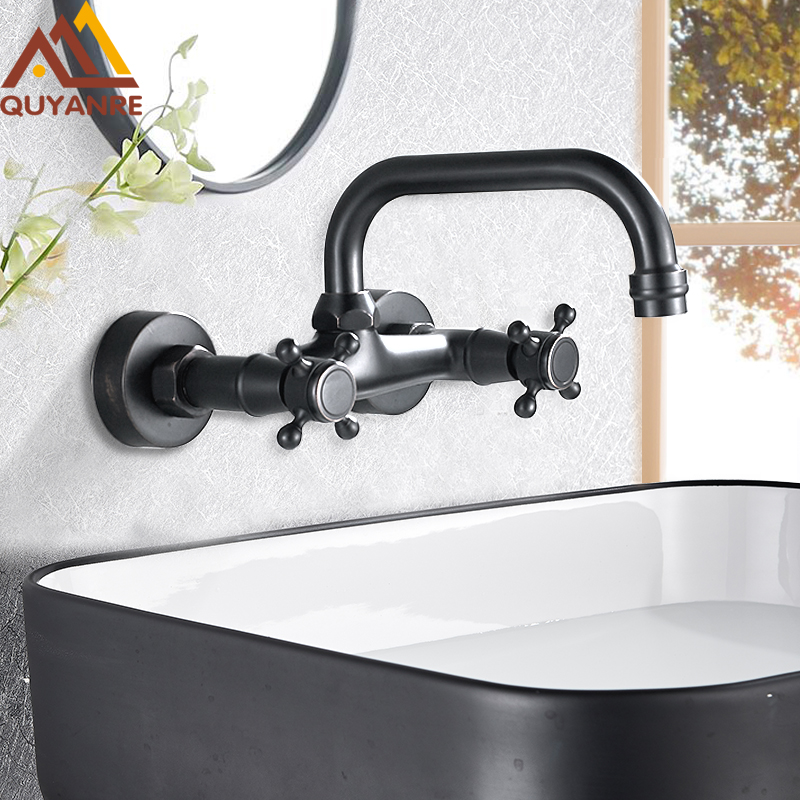 Quyanre Blackend Wall Mount Basin Faucets Dual Handles Mixer Tap Hot Cold Water Mixer Tap For Kitchen 360 Rotation Kitchen Mixer