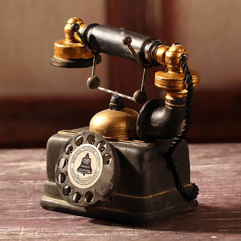 New Vintage Resin Telephone Model Miniature Craft Photography Props Retro Furniture Figurines Bar Home Decor Phone Miniature