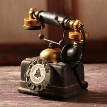 New Vintage Resin Telephone Model Miniature Craft Photography Props Retro Furniture Figurines Bar Home Decor Phone Miniature(China)