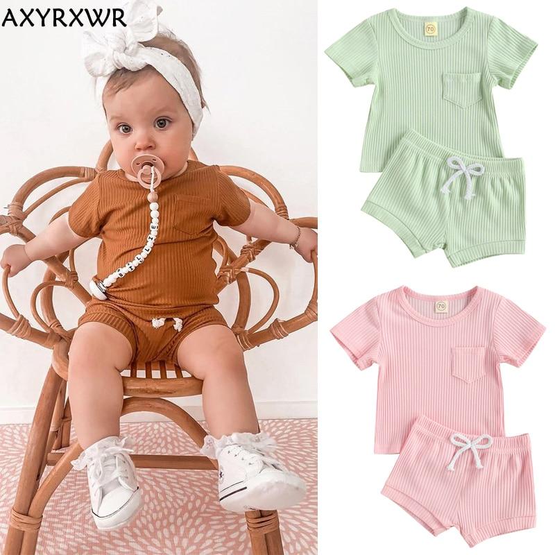 Детские летние хлопковые комплекты одежды для малышей, Детские однотонные ребристые трикотажные футболки с коротким рукавом и шорты, наряд...