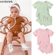 Set di abbigliamento in cotone estivo per bambini Toddler Kids Baby Boys Girls t-shirt a maniche corte in maglia a costine tinta unita pantaloncini pantaloni