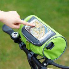 Multifuncional saco de ciclismo mountain road bicicleta tela toque saco quadro tubo pacote guiador pannier equitação saco armazenamento