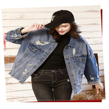 Hip Hop Streetwear Womens Autumn Designer Jeans Jackets Lapel Neck Long Sleeve Hole Female Clothing