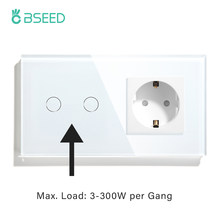 BSEED Touch Light Switch With EU Power Wall Sockets White 300W Wall Led Switch 1/2/3Gang 1Way Crystal Glass Panel Dark Backlight
