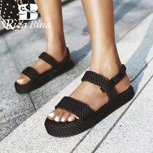 Rizabina Size 35 43 Vrouwen Sandalen Zomer Schoenen Mode Platform Wiggen Schoenen Vrouwen Sexy Gladiator Sandaal Dame Thuis SchoeiselLage Hakken