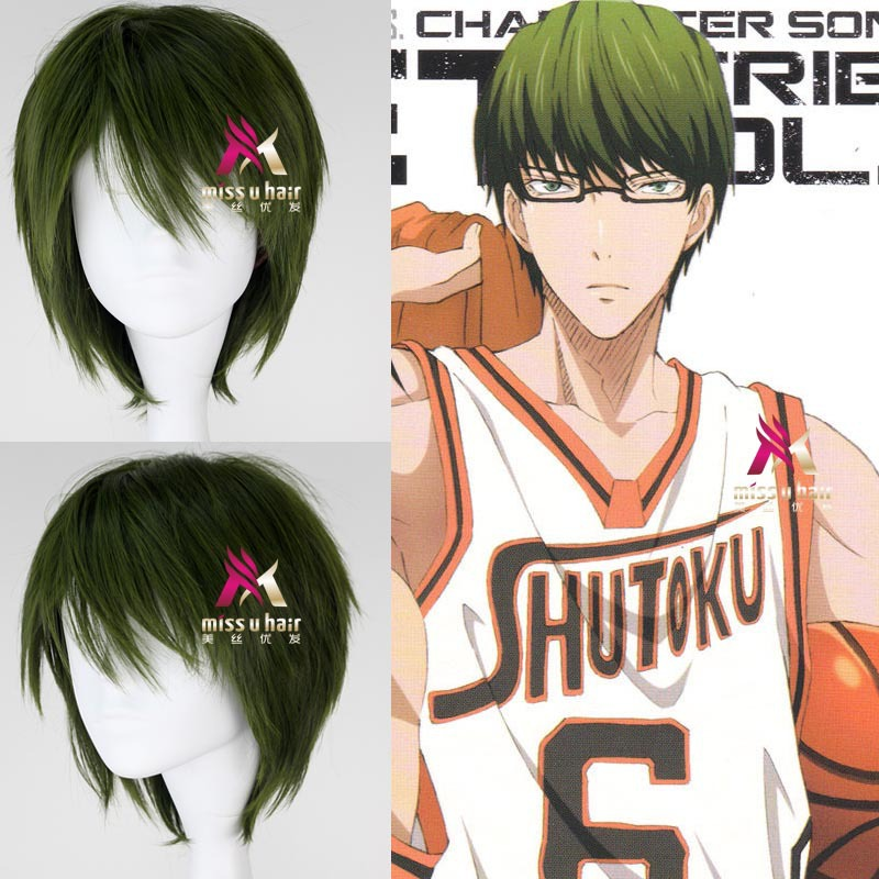 Japanese Anime kurokos basket Green wig kuroko no basuke Midorima Shintaro green straight wig Comic role play hair + wig cap