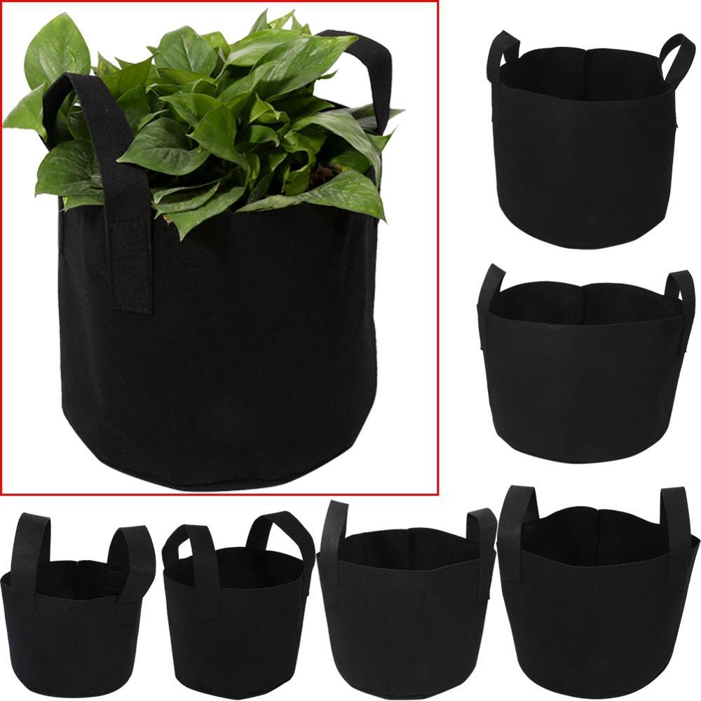 1/2/3/5/7/10 Gallon Black Garden Plant Grow Bag Vegetable Flower Pot Planter DIY Potato Garden Pot Plant Eco-Friendly Grow Bag(China)