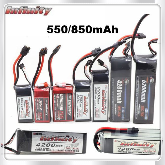 Infinity <font><b>550mAh</b></font> 850mAh 85C 2S <font><b>3S</b></font> 4S 11.1V 14.8V LiPo Battery JST SY60 XT60 XT30 Plugs for RC FPV Multicopter Model Drone image