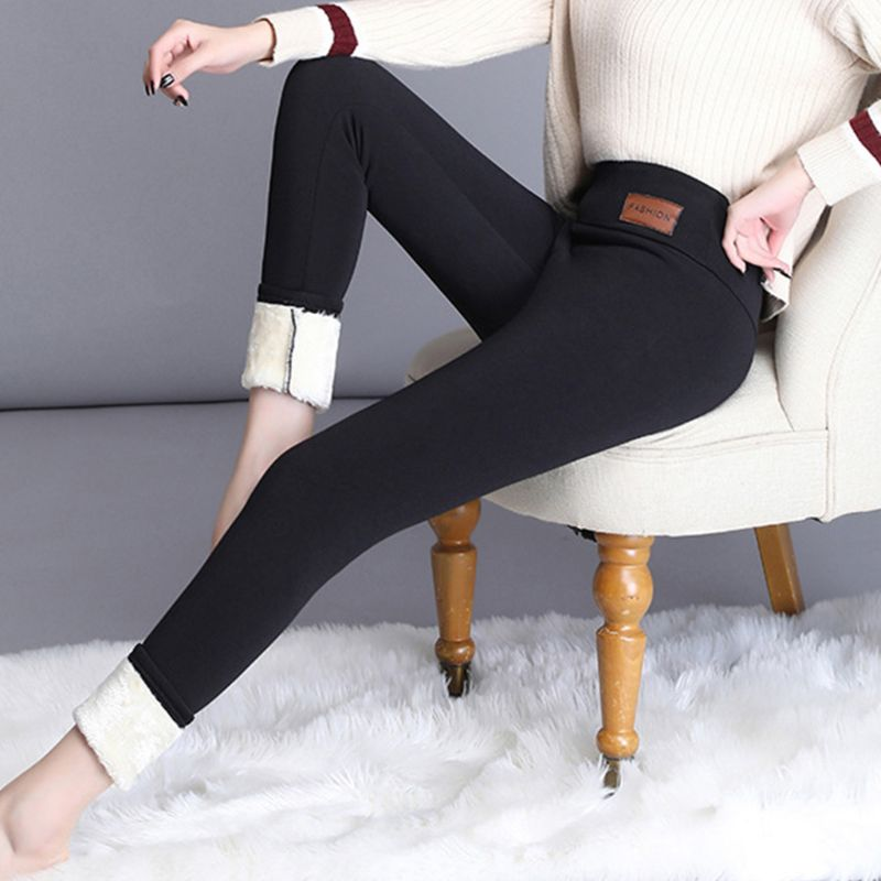 New Women Winter Warm Trousers Thick Faux Fleece Lined Plush Leggings Thermal Pants