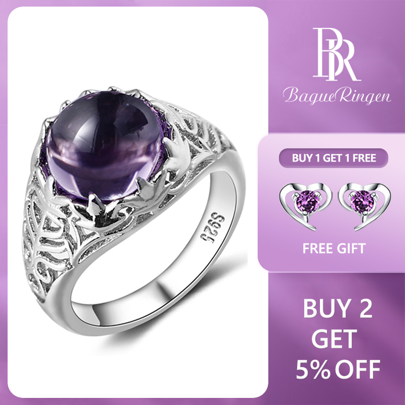 Bague Ringen Vintage 100% 925 Sterling Silver Round Natural Amethyst Wedding Engagement Rings For Women Fine Jewelry Size 6-10(China)