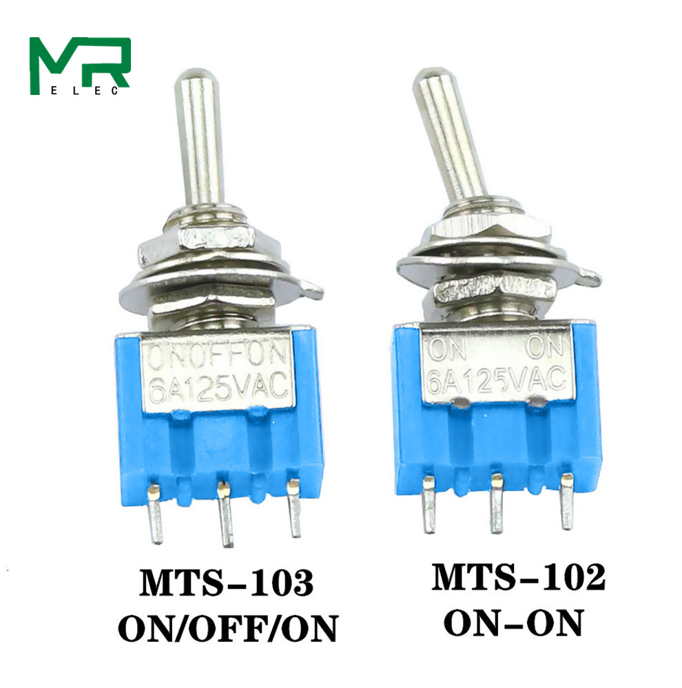 Blue Panel Mount Type ON-OFF-ON 5PCS 3-Pin SPDT Toggle Switch