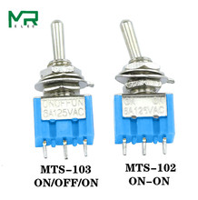 10 Pcs Toggle Switch MTS-103 ON/OFF/ON PDT MTS-102 ON//ON 3 Pin 6A 125VAC/3A 250VAC Mini Switch Lever Switch  Light blue