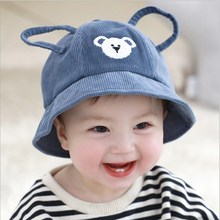 Cute Baby Boy Girl Autumn Winter Home Outdoor Hat Lovely Bear Hollow Ear Kid Unisex Cotton Soft Warm Breathable