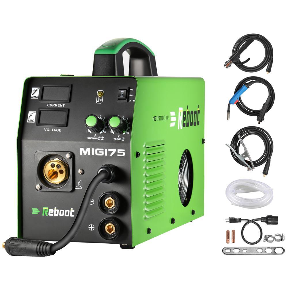 Reboot MIG Welder MIG175 DC 220V 5KG Flux Core Wire And Solid Wire IGBT Inverter Welding Machine MMA MIG MAG Gas Gasless