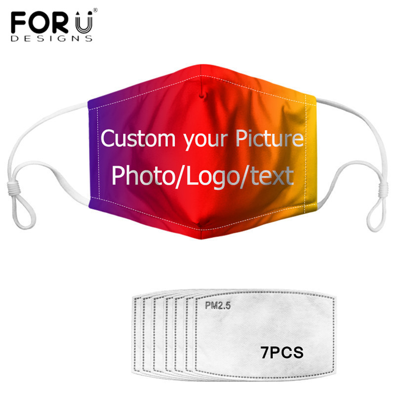 FORUDESIGNS Washable Face Masks Custom Your Own Picture/Logo/Text Print Anti Dust Mouth Mask For Women Men Mask With 7PCS Filter