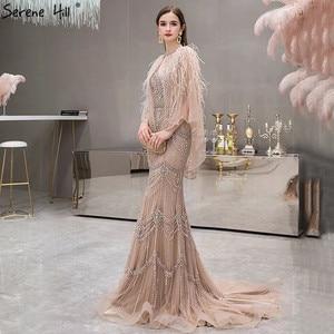 Image 3 - 高級シルバーヌード V ネックマーメイドイブニングドレス 2020 ノースリーブショール糸羽セクシーなフォーマルドレス穏やかな丘 LA70171