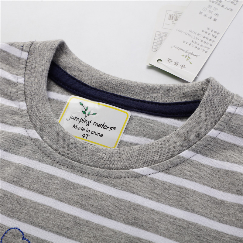 H558b80c9ca304271b2c7300b540f74752 Jumping Meters New Boys Cotton s for Summer Children Clothes Hot Selling Stripe Applique tractor Kids T shirts