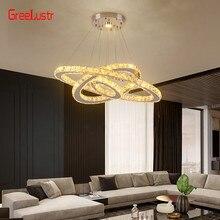 Kristal Led kolye ışıkları 3 yüzük ayna paslanmaz çelik avizeler asılı yatak odası için lamba ev aydınlatma armatürleri Luminaria