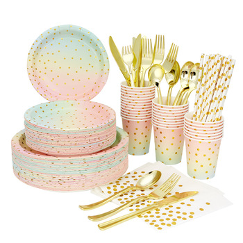 Disposable tableware set napkin paper cup straw party supplies rainbow birthday decoration baby shower