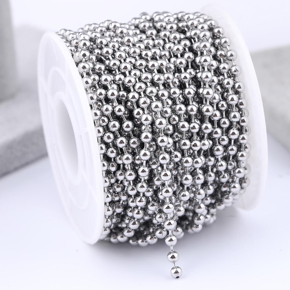 10meters/roll Stainless Steel 1.5mm 2.0mm 2.4mm 3mm Ball Chain Connector Findings Diy Jewelry Making Chains For Necklace