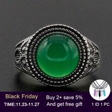 Mężczyźni pierścień 925 srebro okrągły kształt zielony naturalny kamień podobny do wzór sowy Vintage dla kobiet mężczyzn biżuteria dla zakochanych