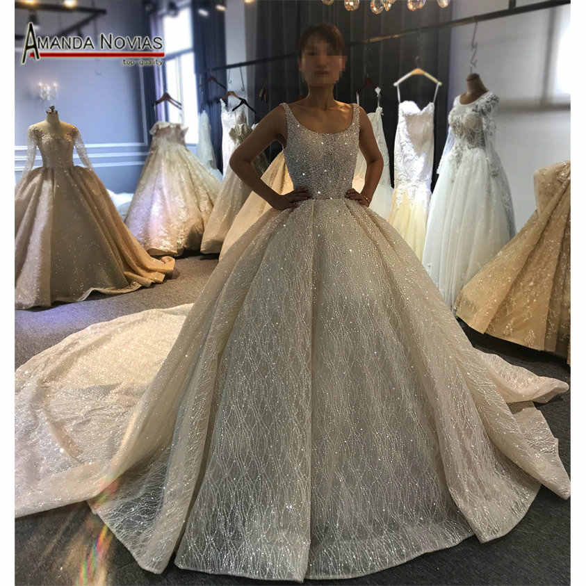 2019 Champagne Luxury Beading Wedding dress Shiny Cathedral train wedding gown
