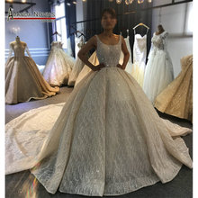 2020 Champagne Luxury Beading Wedding dress Shiny Cathedral train wedding gown half payment  not  full price